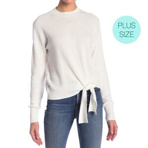 Abound Ivory Tie Front Long Sleeve Knit Sweater
